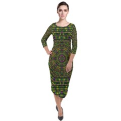 Peace Flower Planet And Calm Fire Quarter Sleeve Midi Velour Bodycon Dress