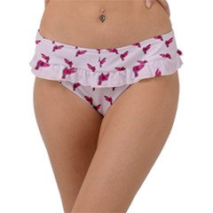 Pink Parrot Pattern Frill Bikini Bottom by snowwhitegirl