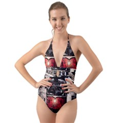 Winter Trolley Halter Cut Out One Piece Swimsuit by snowwhitegirl