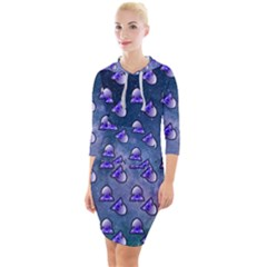 Kawaii Space Rocket Pattern Quarter Sleeve Hood Bodycon Dress by snowwhitegirl