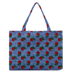 Blue Denim And Roses Zipper Medium Tote Bag by snowwhitegirl