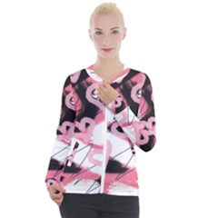 Heart Abstract Casual Zip Up Jacket