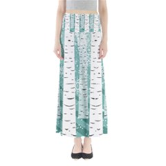 Birch Tree Background Snow Full Length Maxi Skirt