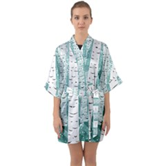 Birch Tree Background Snow Quarter Sleeve Kimono Robe