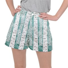 Birch Tree Background Snow Ripstop Shorts