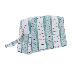 Birch Tree Background Snow Wristlet Pouch Bag (medium)