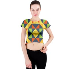 Background Geometric Color Plaid Crew Neck Crop Top by Mariart