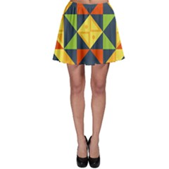 Background Geometric Color Plaid Skater Skirt by Mariart
