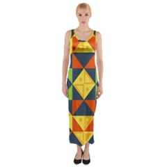 Background Geometric Color Plaid Fitted Maxi Dress by Mariart