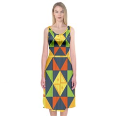 Background Geometric Color Plaid Midi Sleeveless Dress by Mariart
