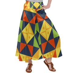 Background Geometric Color Plaid Satin Palazzo Pants