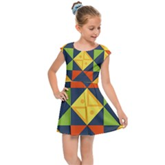 Background Geometric Color Plaid Kids  Cap Sleeve Dress by Mariart