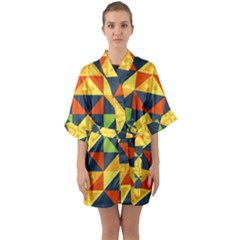 Background Geometric Color Plaid Quarter Sleeve Kimono Robe by Mariart