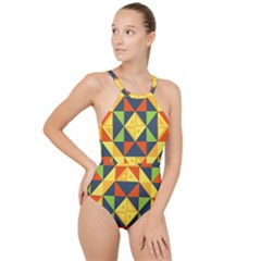 Background Geometric Color Plaid High Neck One Piece Swimsuit by Mariart