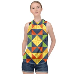 Background Geometric Color Plaid High Neck Satin Top by Mariart