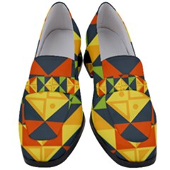 Background Geometric Color Plaid Women s Chunky Heel Loafers by Mariart