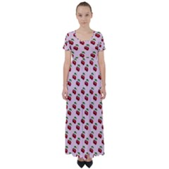 Retro Pink Cherries High Waist Short Sleeve Maxi Dress