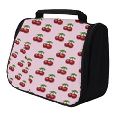 Retro Pink Cherries Full Print Travel Pouch (small)