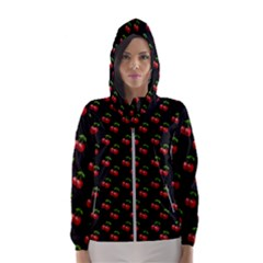 Retro Black Cherries Women s Hooded Windbreaker