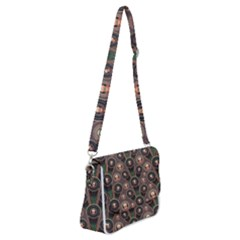 Abstract Pattern Green Shoulder Bag With Back Zipper