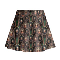 Abstract Pattern Green Mini Flare Skirt by HermanTelo