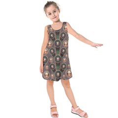 Abstract Pattern Green Kids  Sleeveless Dress by HermanTelo