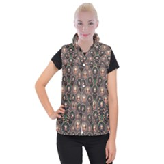 Abstract Pattern Green Women s Button Up Vest