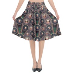 Abstract Pattern Green Flared Midi Skirt by HermanTelo