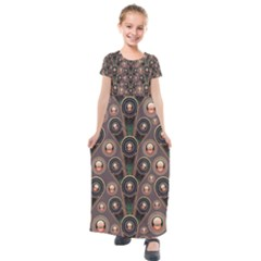 Abstract Pattern Green Kids  Short Sleeve Maxi Dress by HermanTelo