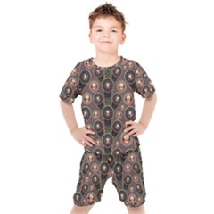Abstract Pattern Green Kids  Tee And Shorts Set by HermanTelo