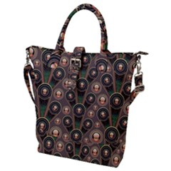 Abstract Pattern Green Buckle Top Tote Bag