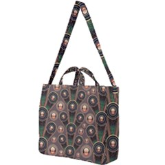 Abstract Pattern Green Square Shoulder Tote Bag by HermanTelo