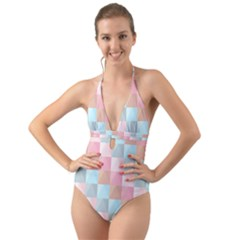 Background Pastel Halter Cut Out One Piece Swimsuit