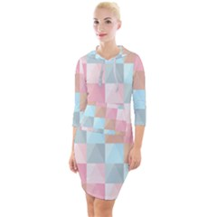 Background Pastel Quarter Sleeve Hood Bodycon Dress