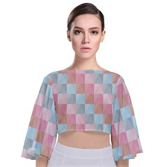 Background Pastel Tie Back Butterfly Sleeve Chiffon Top