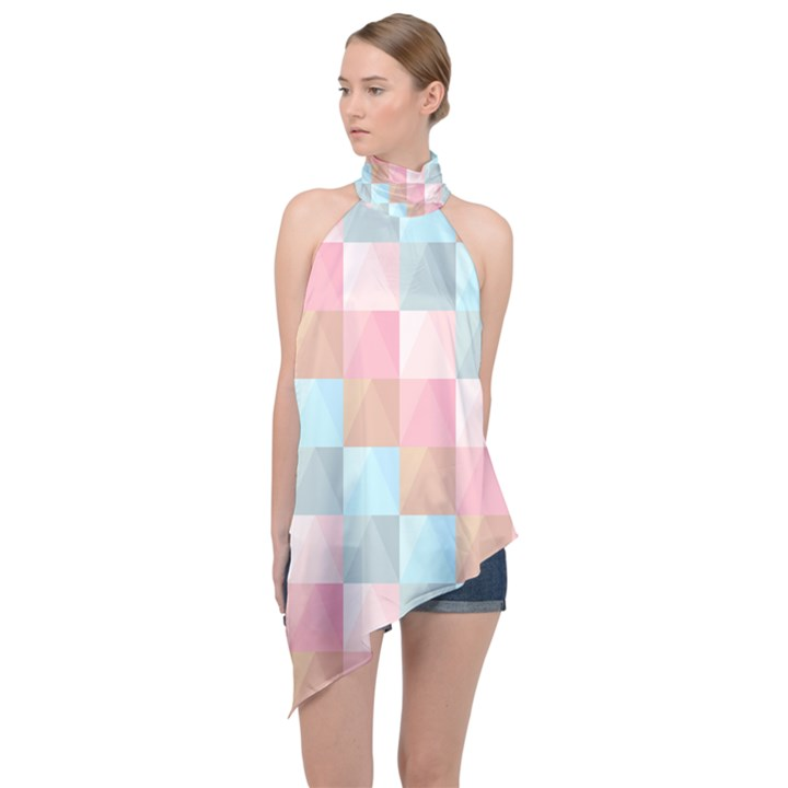 Background Pastel Halter Asymmetric Satin Top