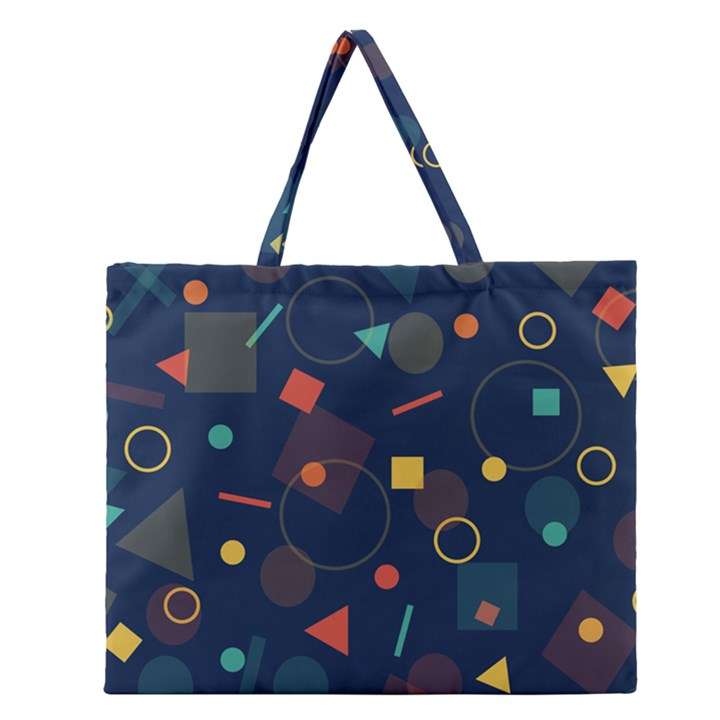 Background Geometric Zipper Large Tote Bag