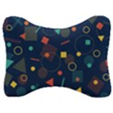 Background Geometric Velour Seat Head Rest Cushion View1