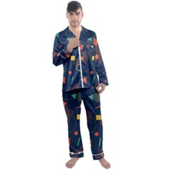 Background Geometric Men s Satin Pajamas Long Pants Set