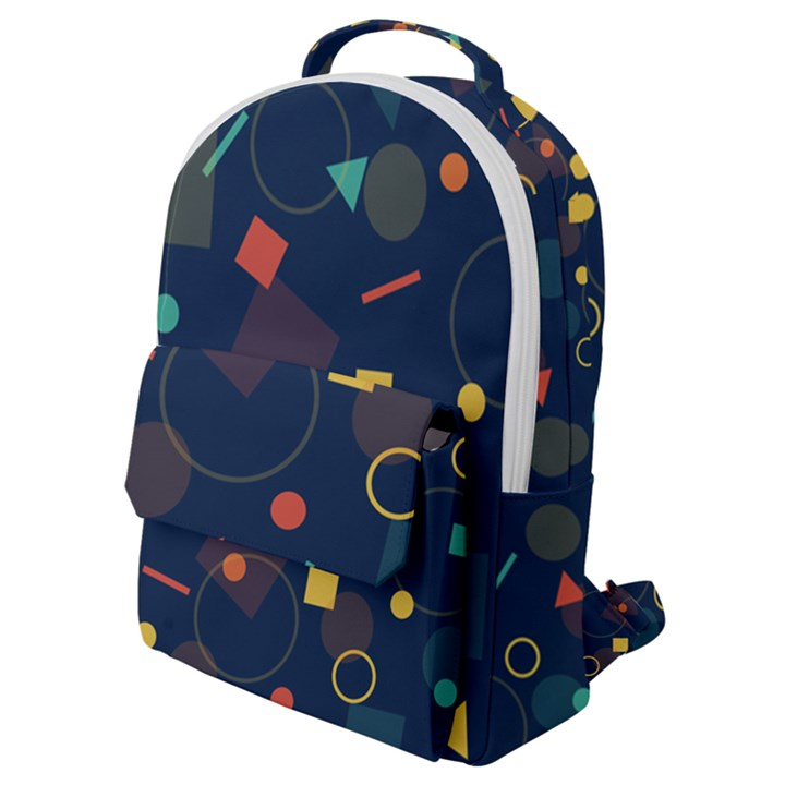 Background Geometric Flap Pocket Backpack (Small)
