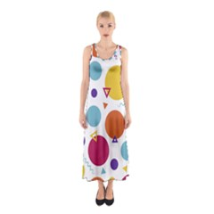 Background Polka Dot Sleeveless Maxi Dress