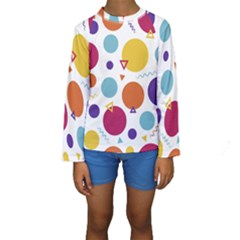 Background Polka Dot Kids  Long Sleeve Swimwear