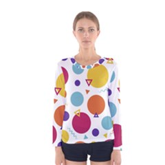 Background Polka Dot Women s Long Sleeve Tee