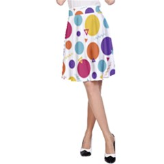 Background Polka Dot A-Line Skirt