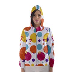Background Polka Dot Women s Hooded Windbreaker