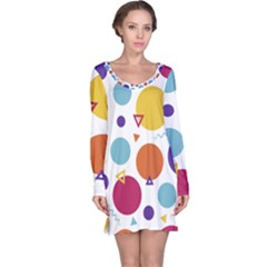 Background Polka Dot Long Sleeve Nightdress