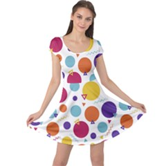 Background Polka Dot Cap Sleeve Dress
