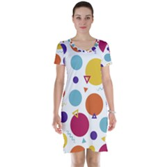 Background Polka Dot Short Sleeve Nightdress