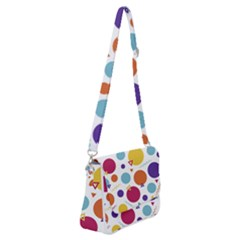 Background Polka Dot Shoulder Bag with Back Zipper