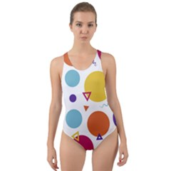 Background Polka Dot Cut-Out Back One Piece Swimsuit